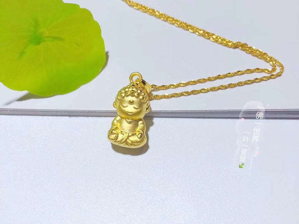 18k solid gold cute Buddha pendant necklace - Xingjewelry