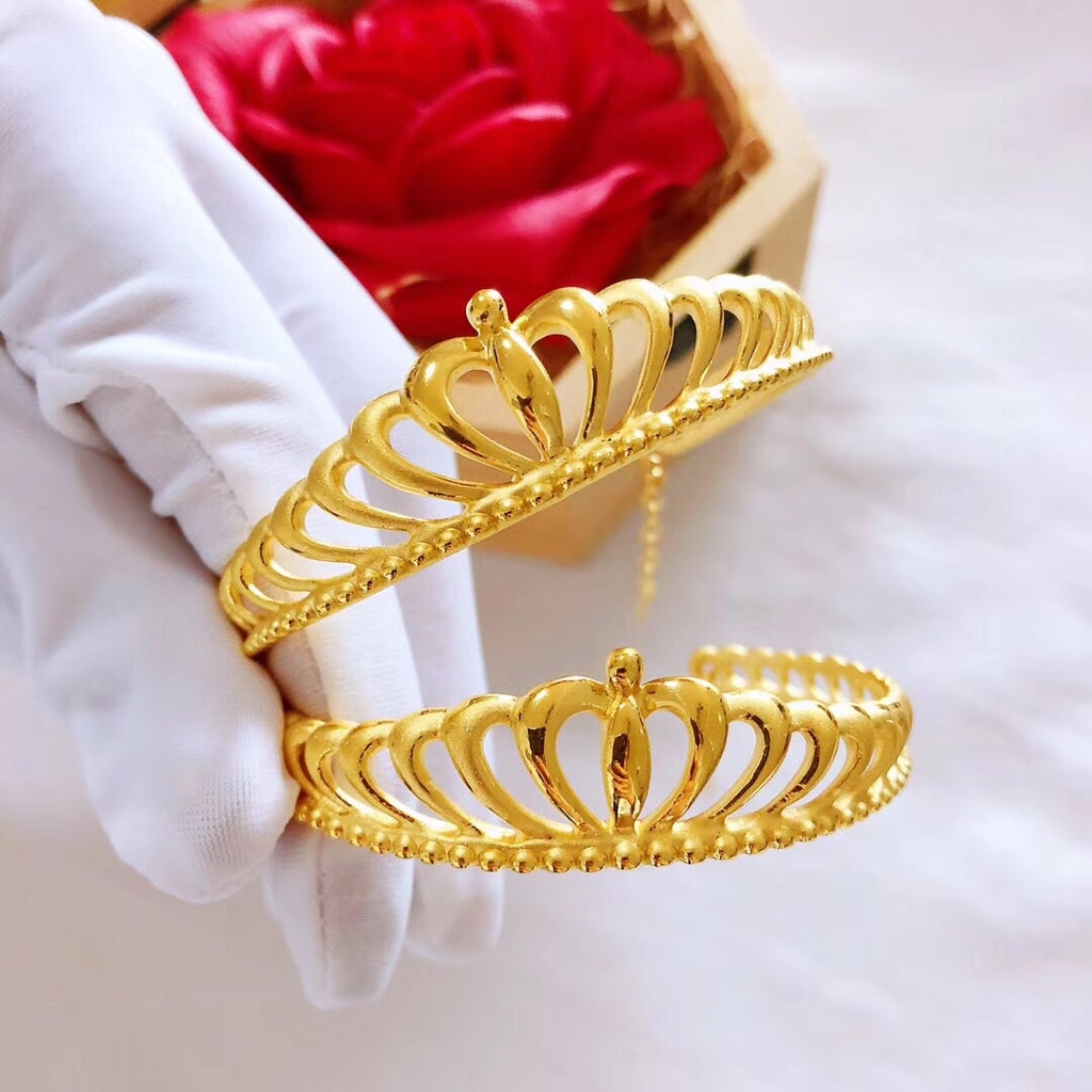 Solid gold crown bangle bracelet