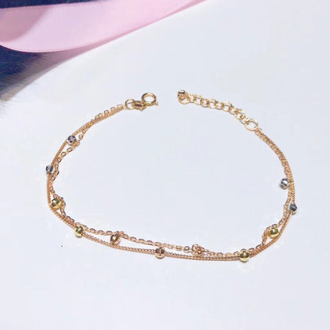 18 k rose gold beaded double bangle bracelet - Xingjewelry