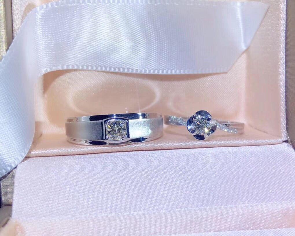 18k white gold love couple ring - Xingjewelry