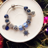 pandoar luxury blue /snow flower theme charm bracelet