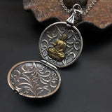 925 sterling silver locket six sutra buddha pendant necklace - Xingjewelry
