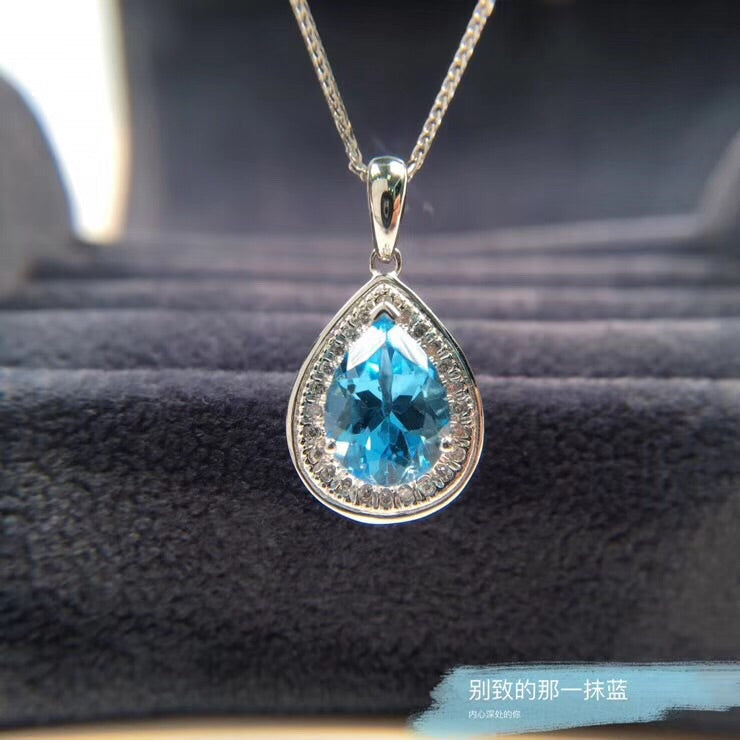 Sterling silver topaz stone necklace
