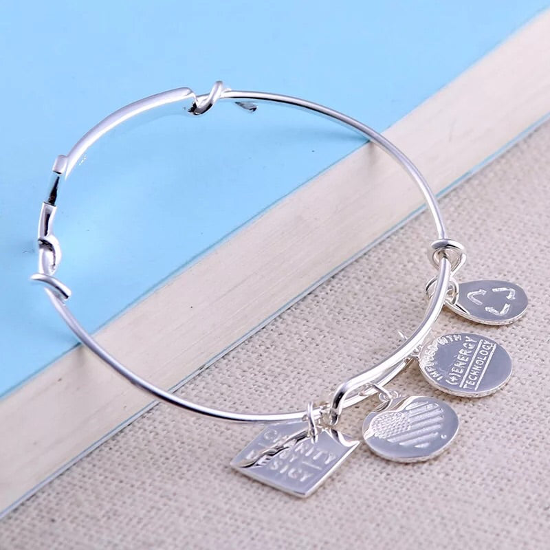 925 sterling silver push charm bangle bracelet - Xingjewelry