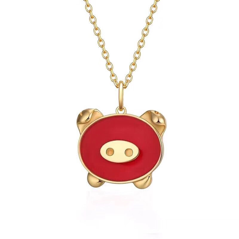 18k gold red enamel pig pendant necklace - Xingjewelry