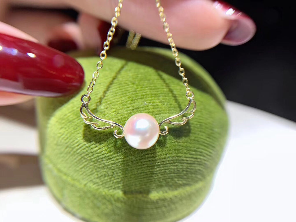 Silver akoya gold plate pearl pendant necklace