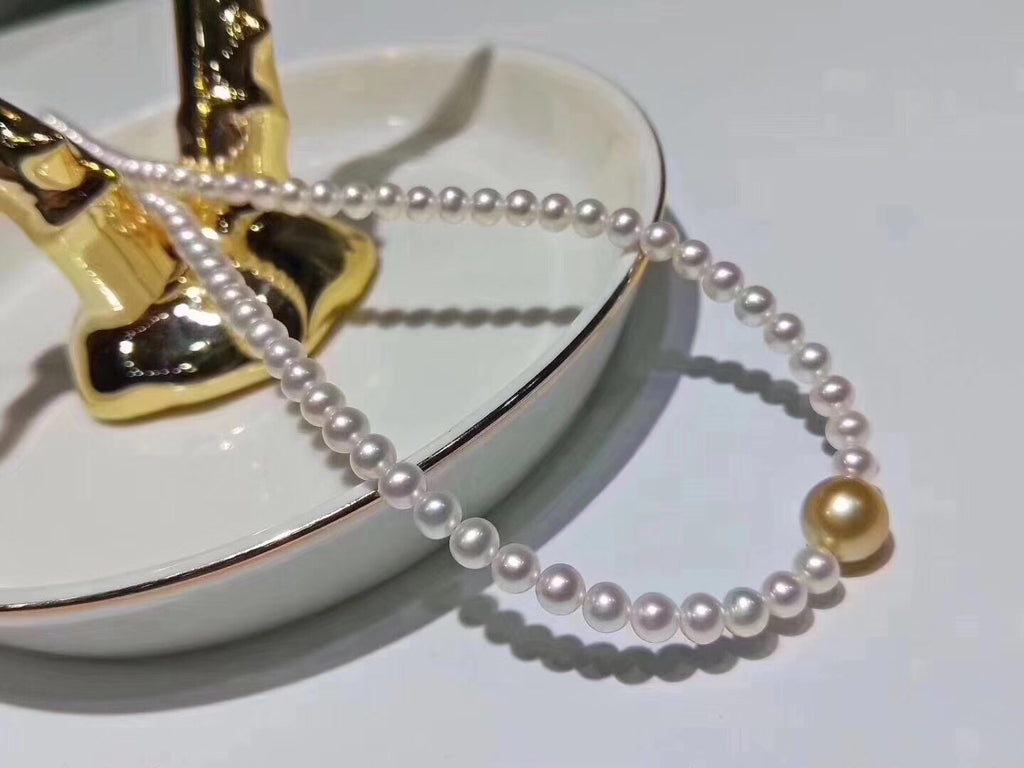 Fresh water pearl south sea golden pearl bead necklace