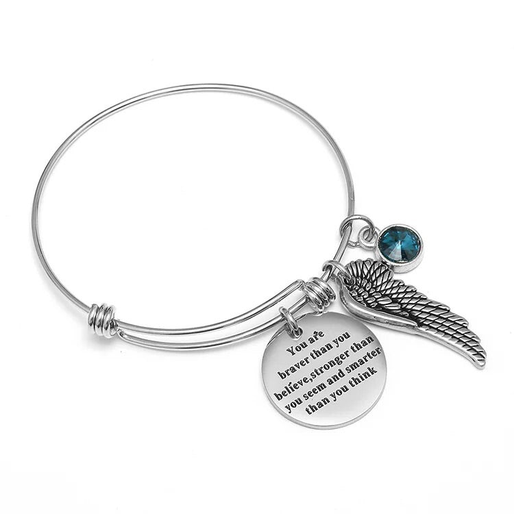 push bangle bracelet brave angle wing pendant