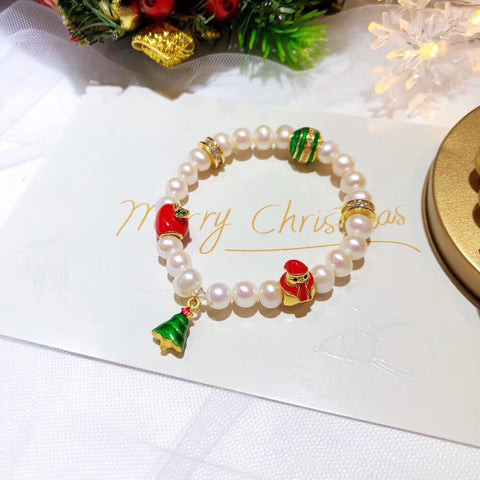 Natural white pearl Christmas tree elastic charm bracelet