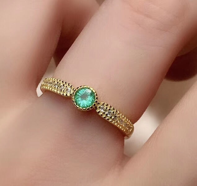 Gold plate emerald stone silver ring