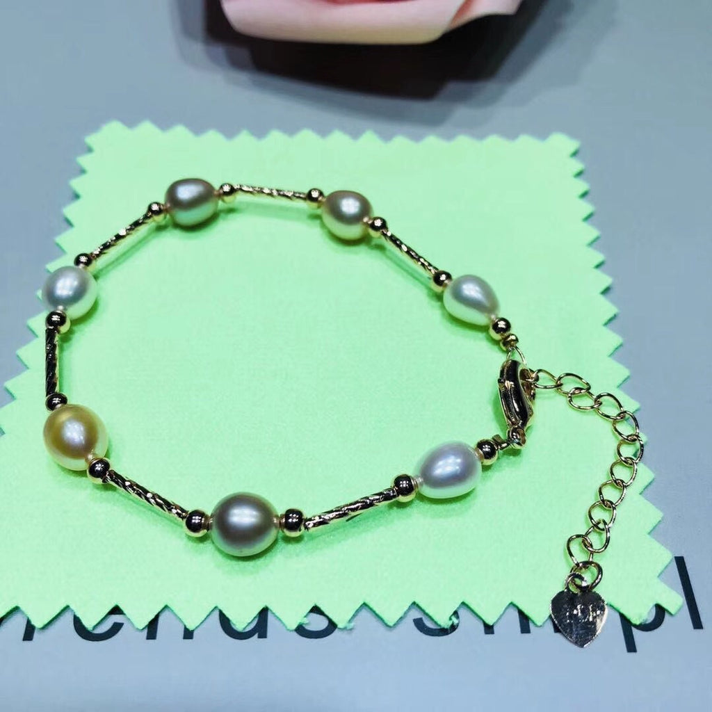 Rice fresh water pearl adjustable bracelet