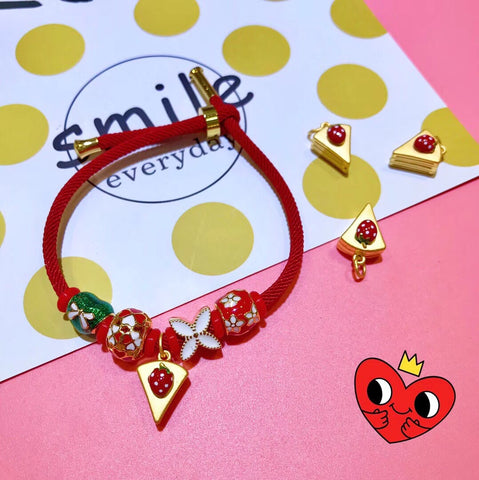 18k gold fruit strawberry red bracelet - Xingjewelry