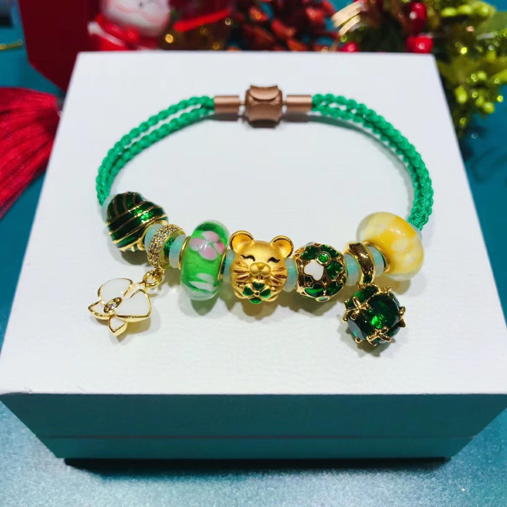 Solid gold charm lucky bracelet green bangle