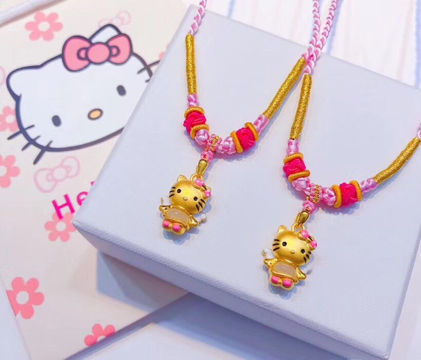 18k gold hello kitty pendant necklace - Xingjewelry