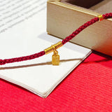 18k gold green jade guard Buddha chinese fu red rope chain