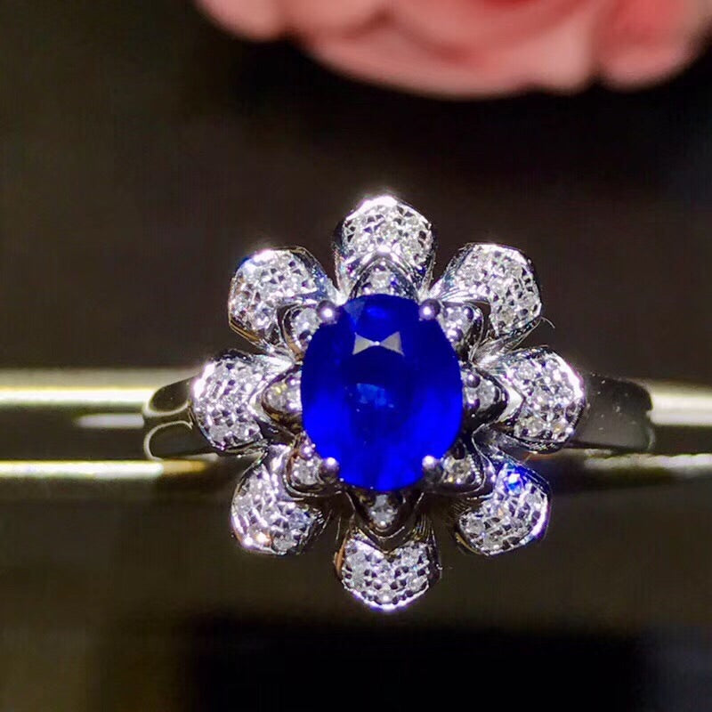 18k white gold blue sapphire stone flower ring - Xingjewelry
