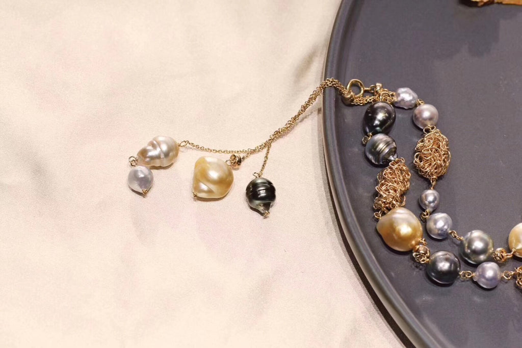 18k gold pearl mixed color double style necklace - Xingjewelry
