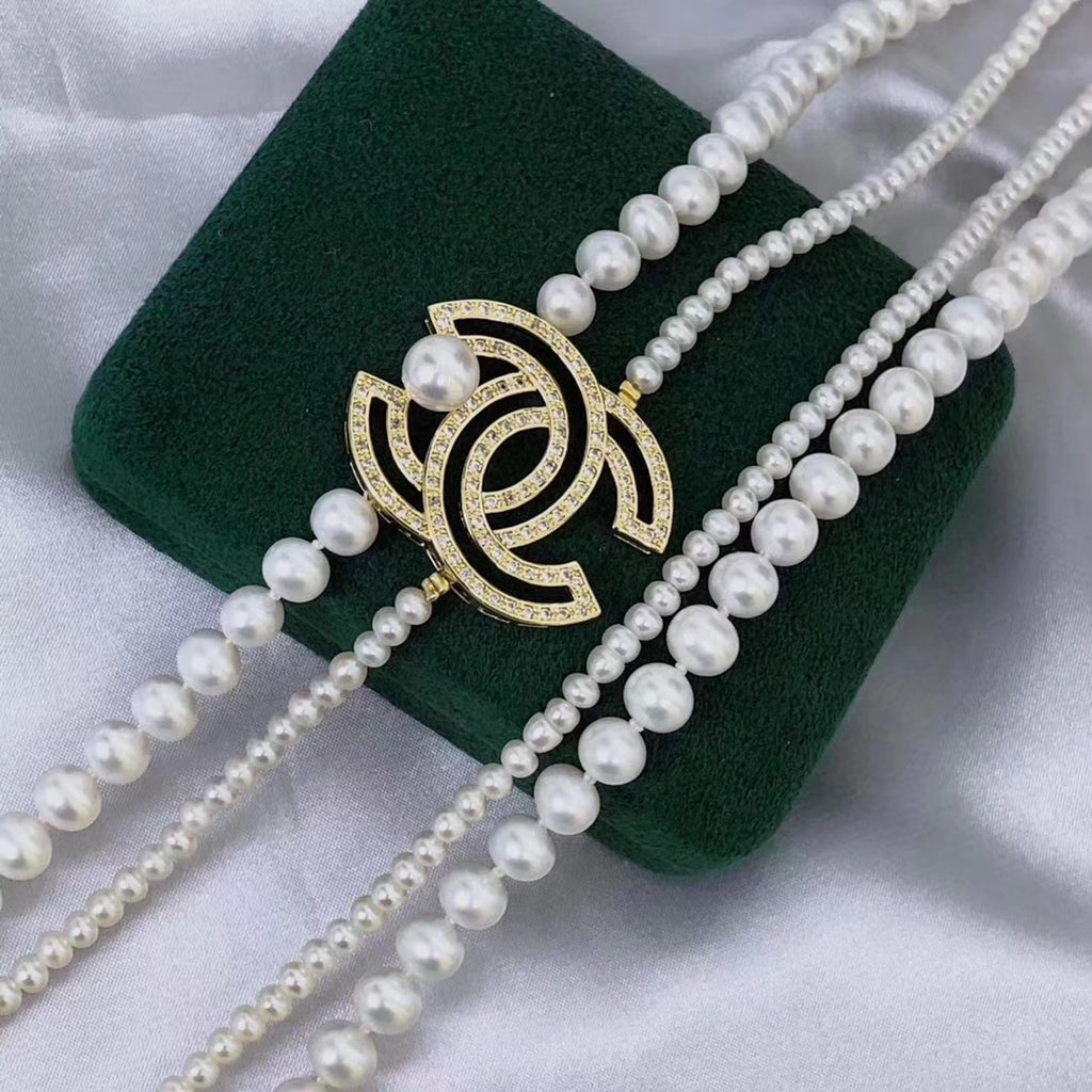 Fresh water white pearl 7-8 mm sweater necklace