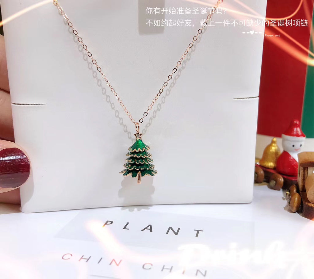 18k gold Christmas tree pendant necklace
