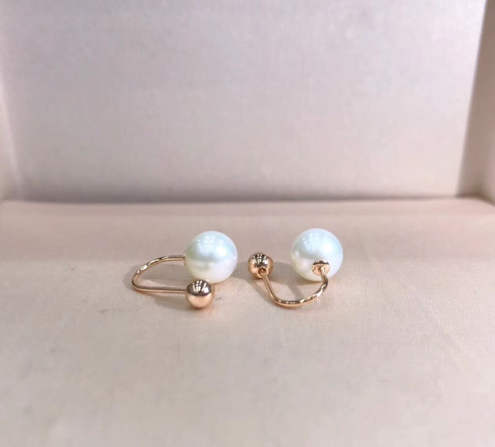 18k gold natural white pearl earring - Xingjewelry