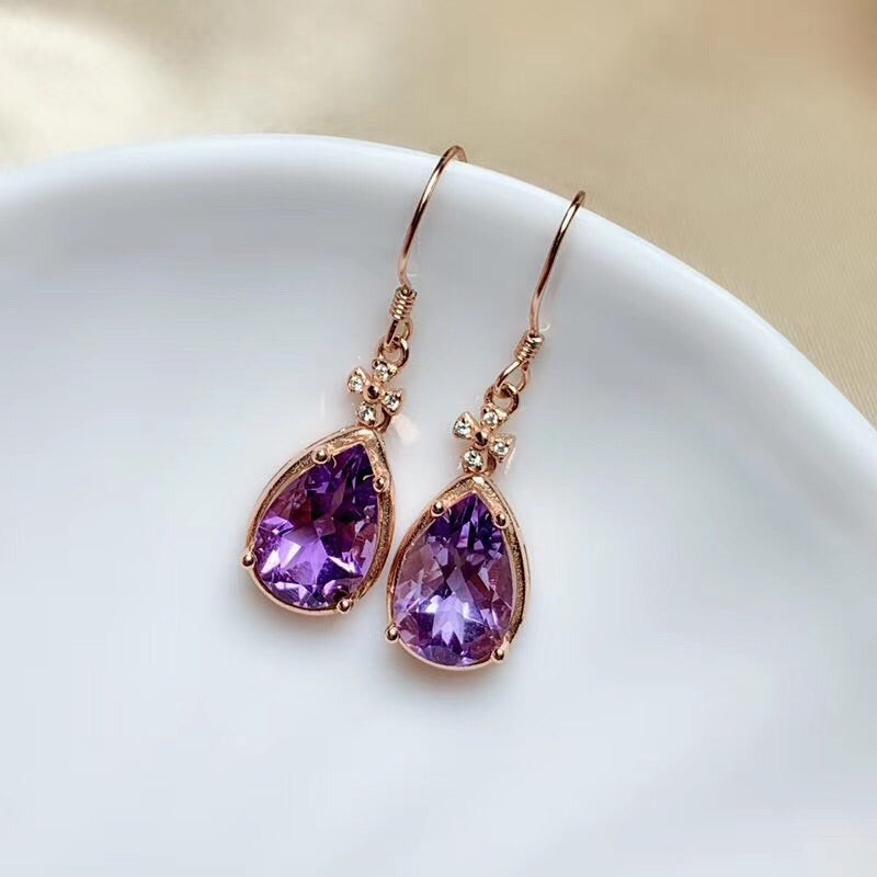 Sterling silver purple crystal earring