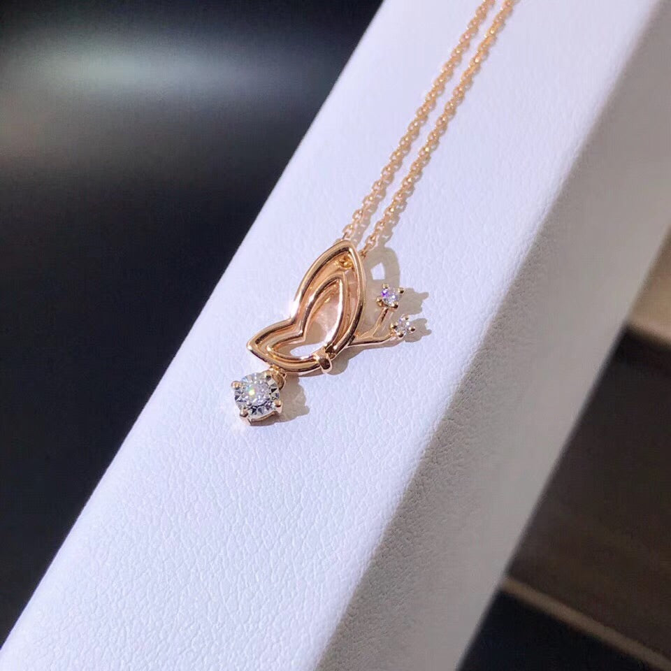 18k gold butterfly diamond pendant necklace - Xingjewelry