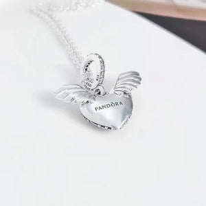 Pandora pave heart angles wing necklace