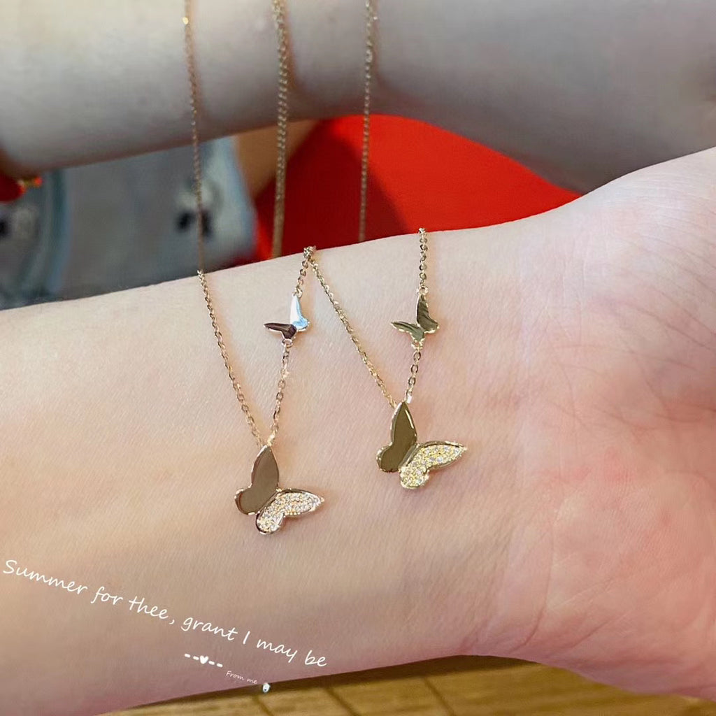 18k gold butterfly chain necklace