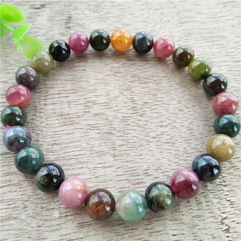 Tourmaline colorful bead bracelet 8mm diameter bead - Xingjewelry