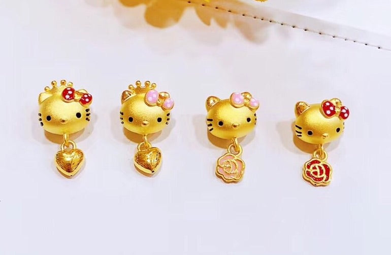 24k Hello kitty solid 999 gold charm - Xingjewelry