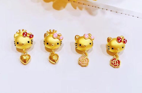 Hello kitty solid 999 gold charm