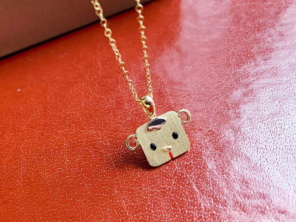 Sterling silver smile face pendant necklace