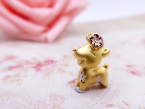 24k gold reindeer pendant charm - Xingjewelry