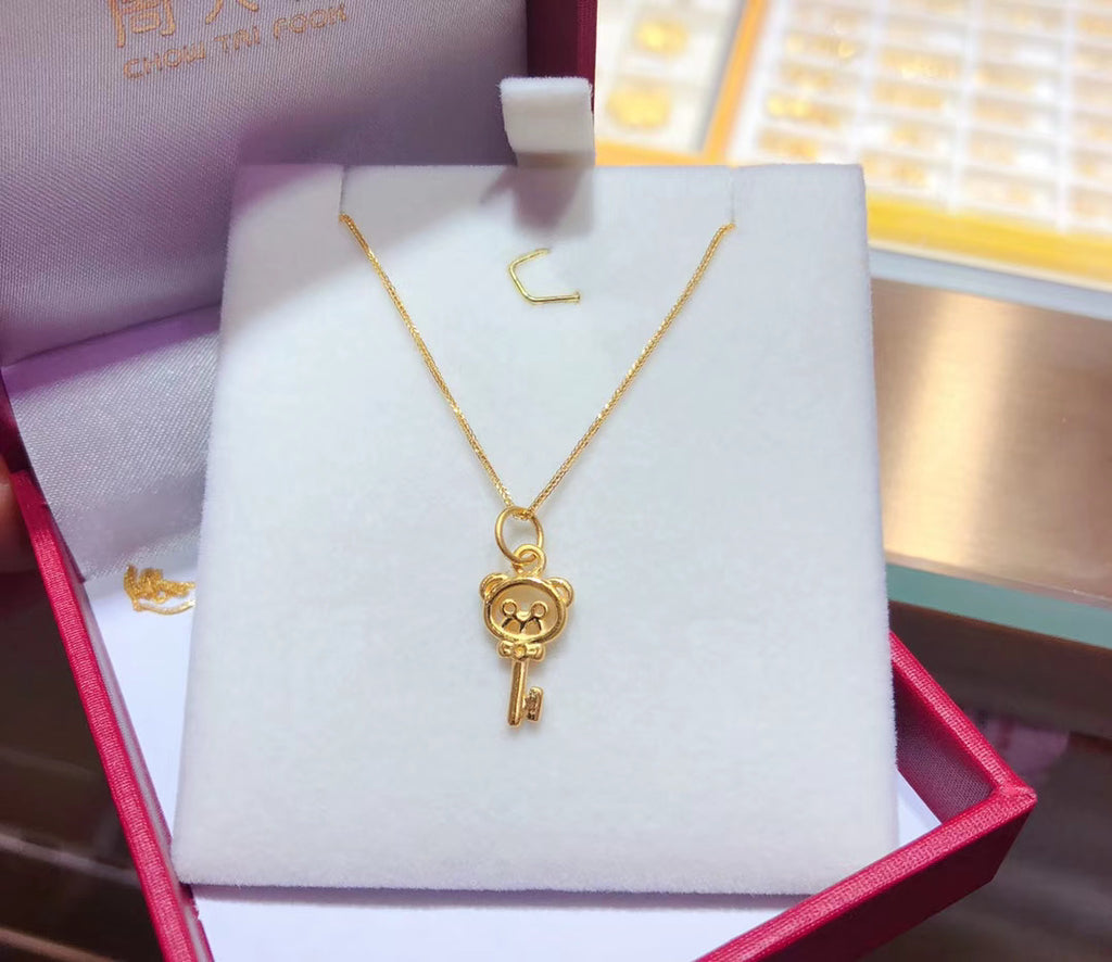 18k gold key pendant necklace