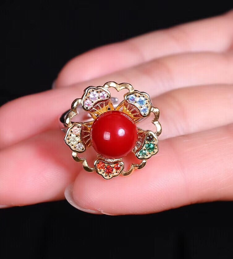 Sterling silver red coral flower ring