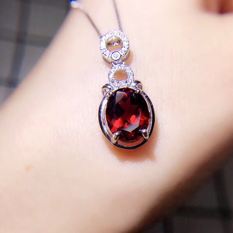 Sterling silver red garnet stone necklace ring set