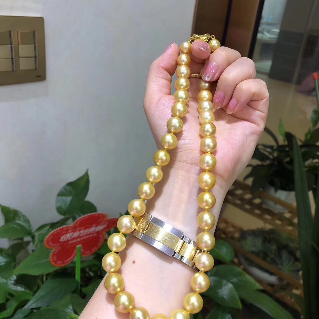 Natural south sea golden pearl beads necklace 9-12mm beaded