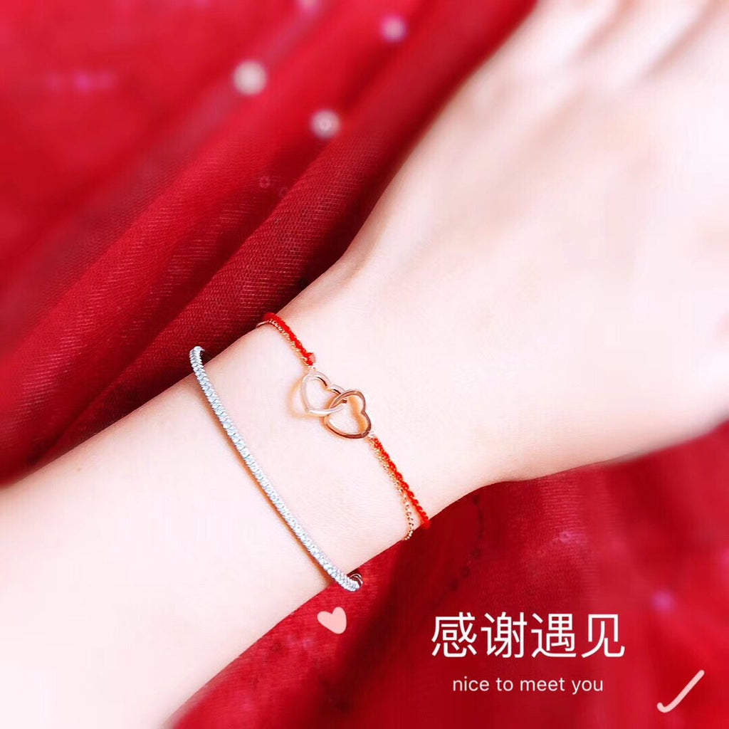 18k gold double chain two heart buckle bracelet - Xingjewelry