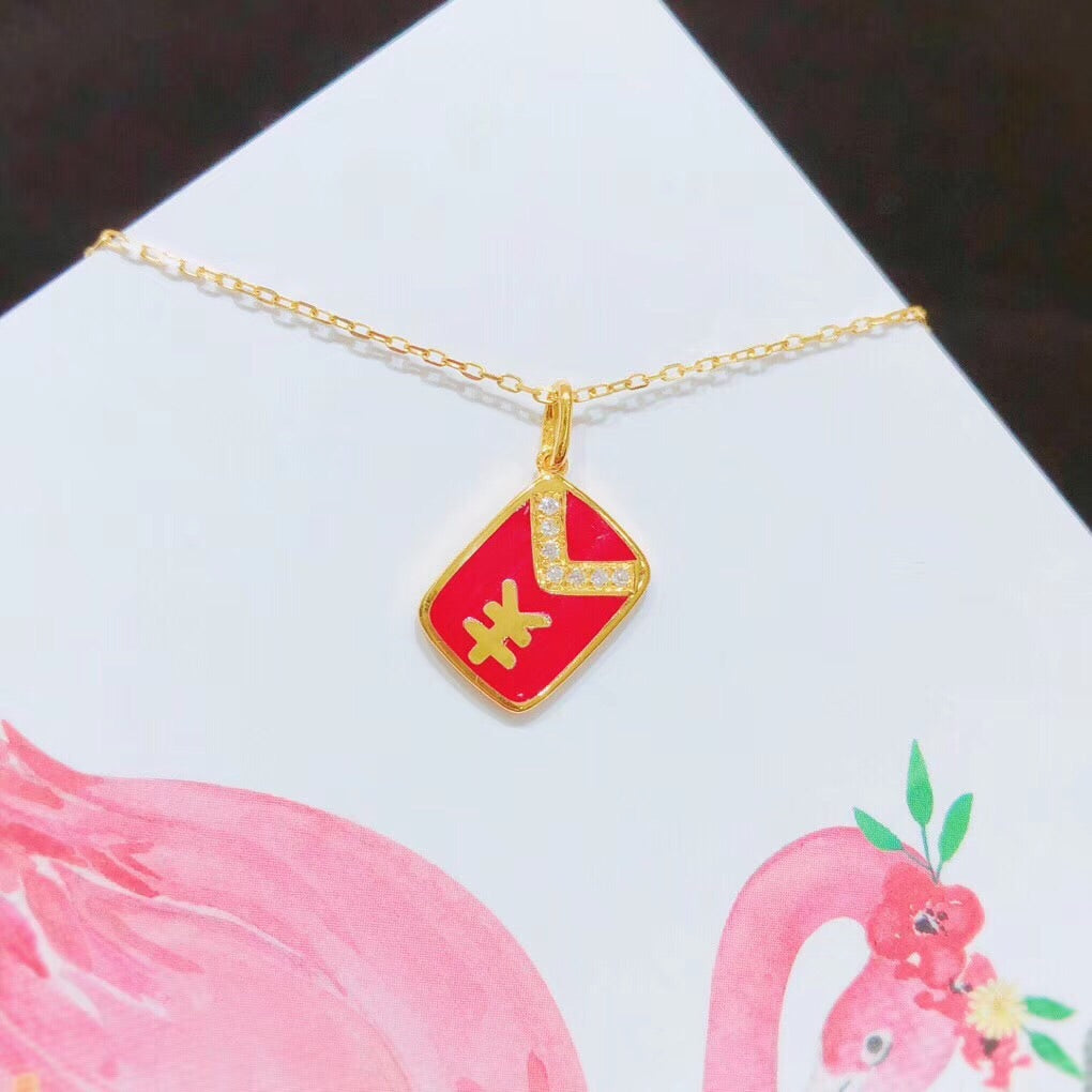 18k gold red pocket red envelope pendant necklace - Xingjewelry