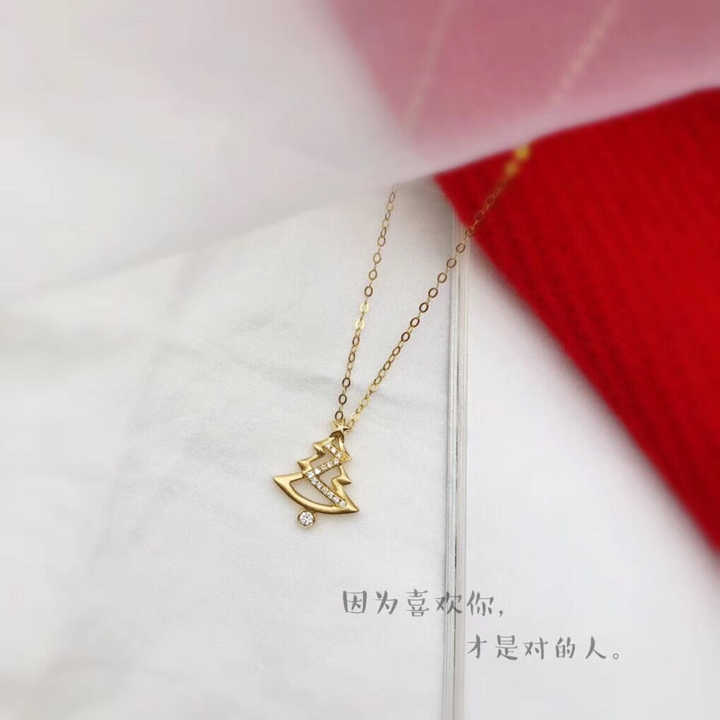 18k gold Christmas tree pendant necklace - Xingjewelry