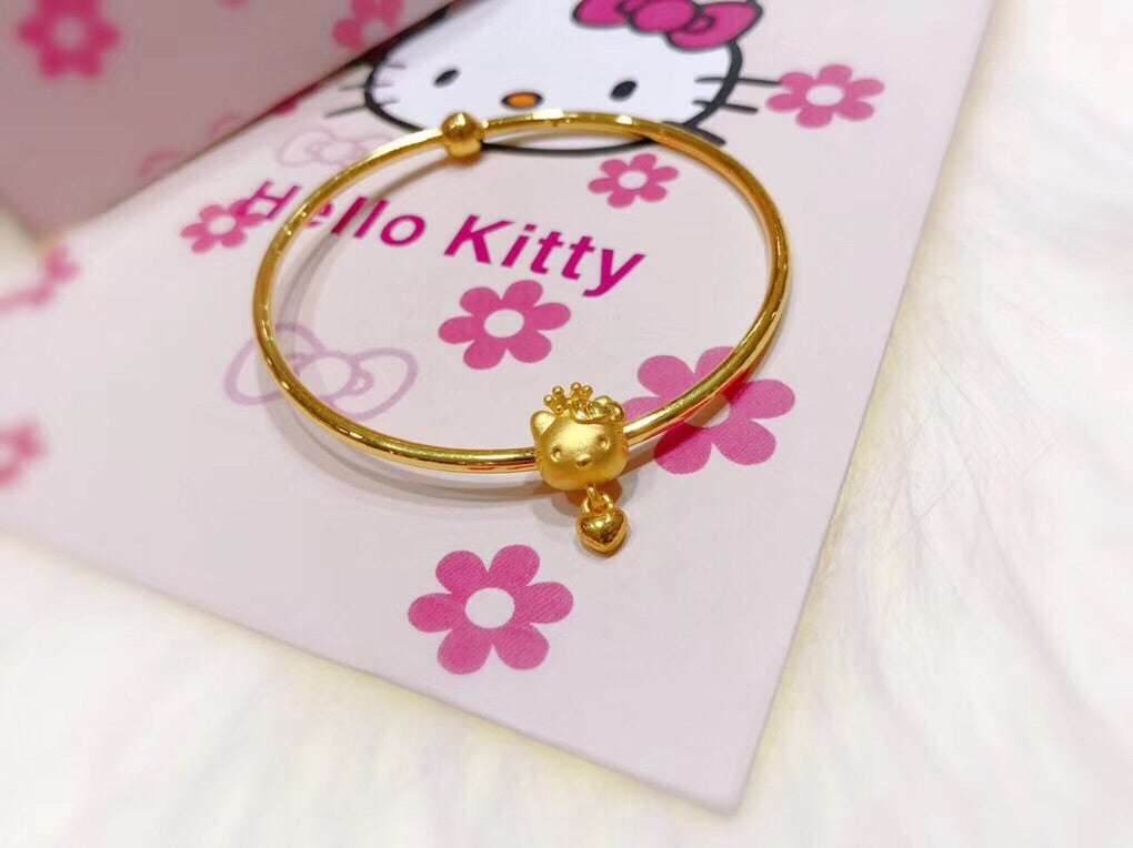 999 solid gold hello kitty charm bracelet - Xingjewelry
