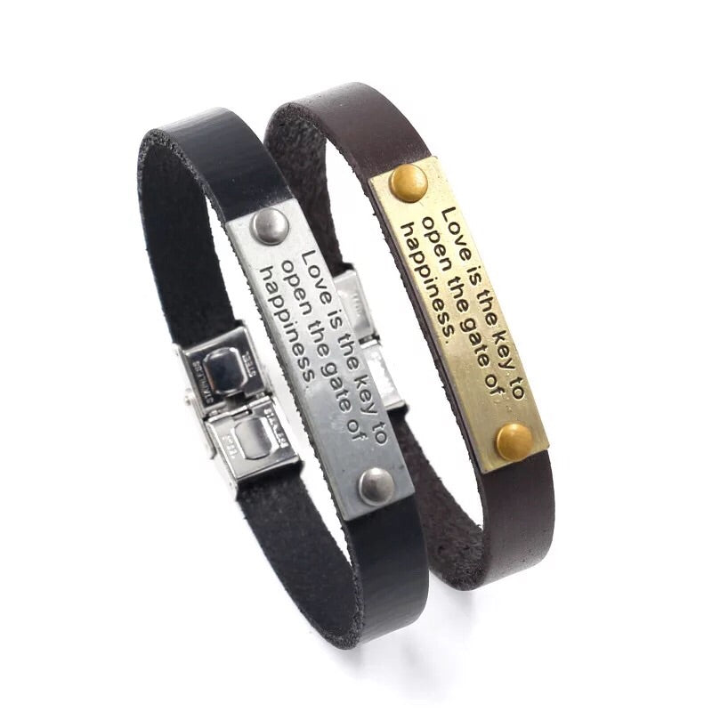 Leather love bangle bracelet - Xingjewelry