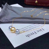 18k gold akoya pearl beads necklace - Xingjewelry