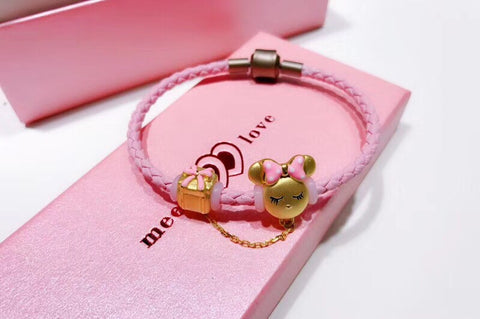 Leather 18k gold Minnie pink charm bracelet - Xingjewelry