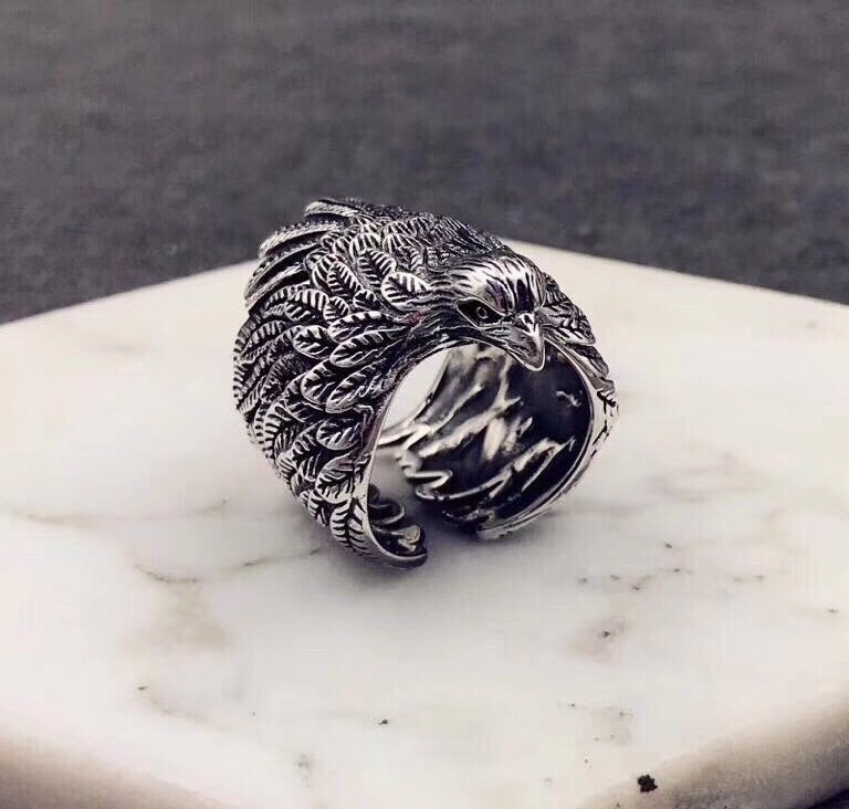 925 sterling silver eagle open ring - Xingjewelry