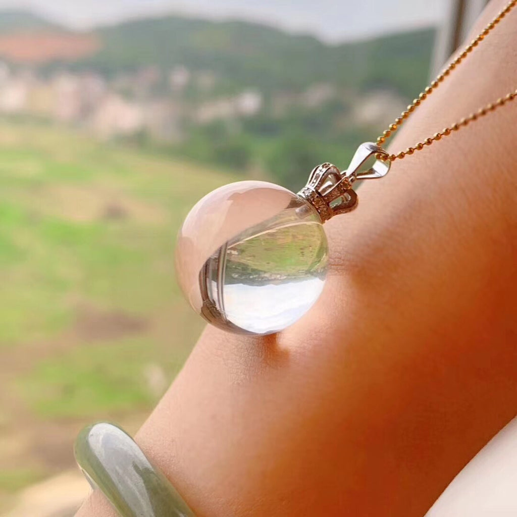 925 sterling silver white crystal ball pendant necklace