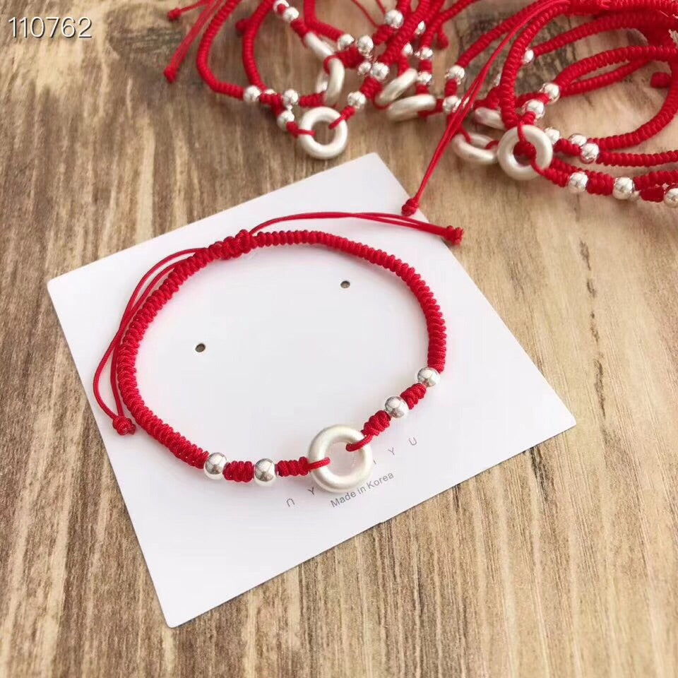 Red rope silver charm bracelet