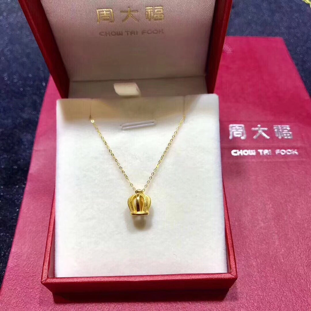 18k gold crown pendant necklace - Xingjewelry