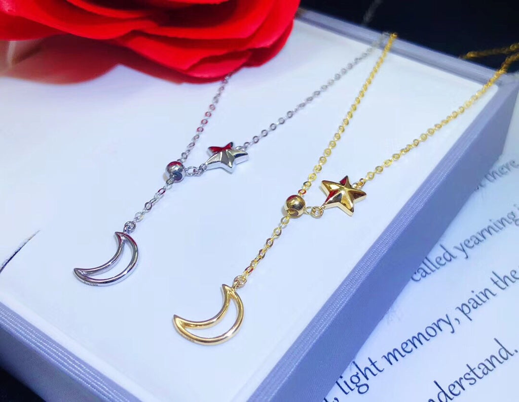 18k gold star moon pendant necklace - Xingjewelry