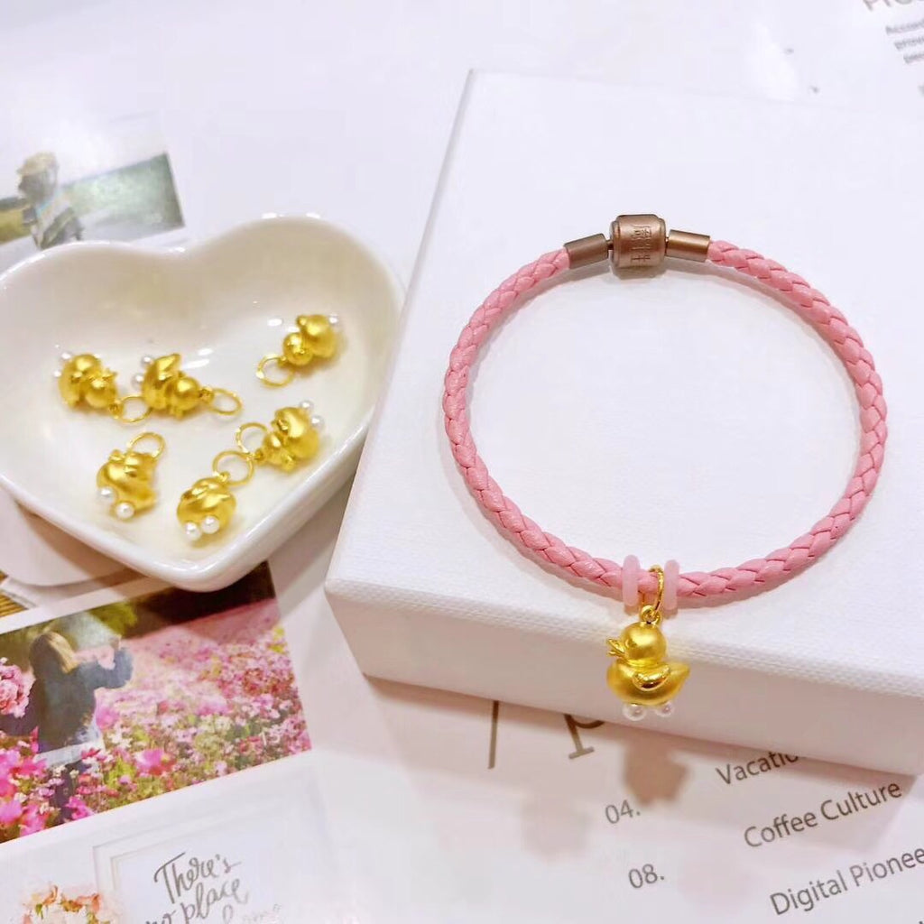 SOLID GOLD YELLOW CUTE BABY DUCK CHARM BRACELET